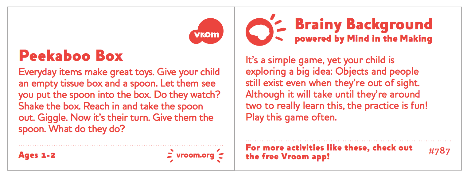 Brain Building activities by Vroom and the Bezos Family Foundation