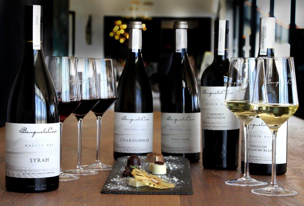 A selection of wines from the Benguela Cove Lagoon Wine Estate