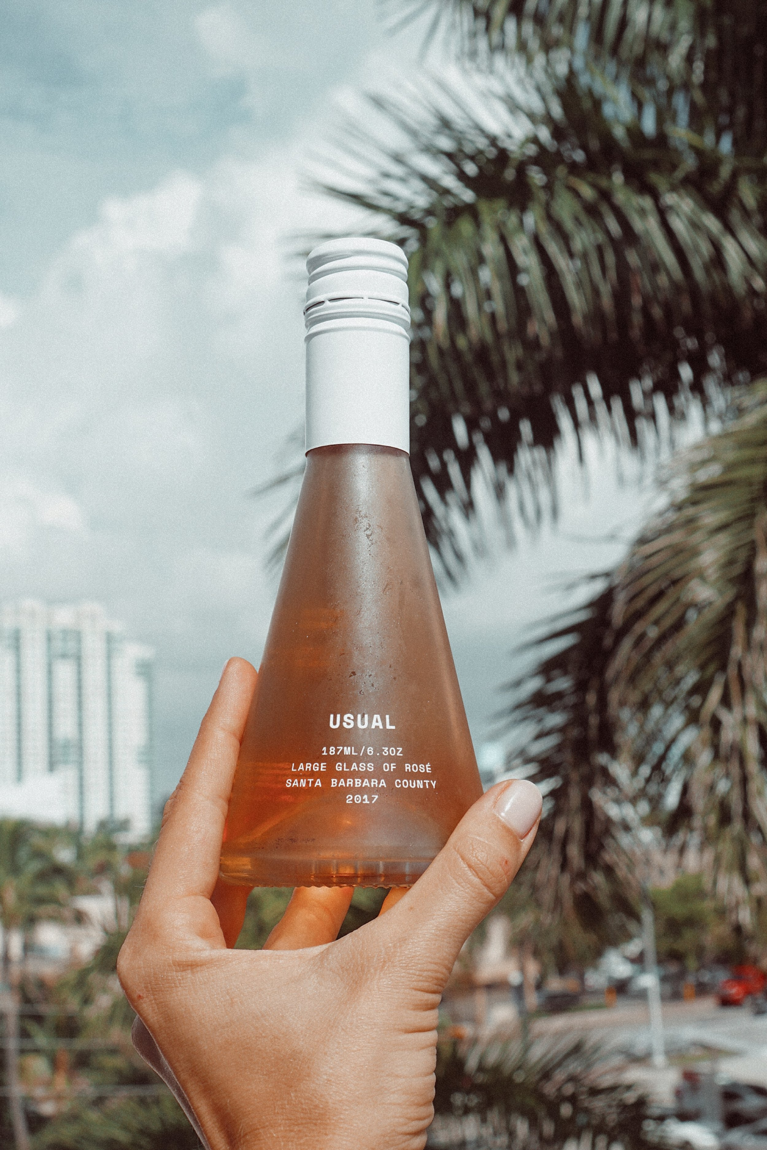 Miami Beach vibes with Usual Wines. Bottle shape and twist-off cap make it super easy and accessible. So cute!