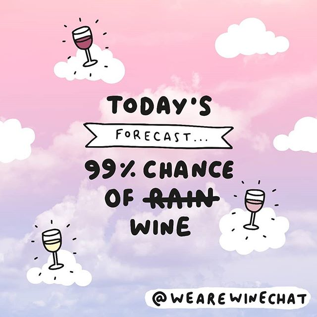 Haven't got a clue what's going on with the weather today, but we can GUARANTEE there will be wine tonight! 🙌🙌🙌 . . #wine #winechat #wearewinechat #weekend #friday #friyay #rain #new #veronicadearly #illustration #forecast #winetime #winelovers