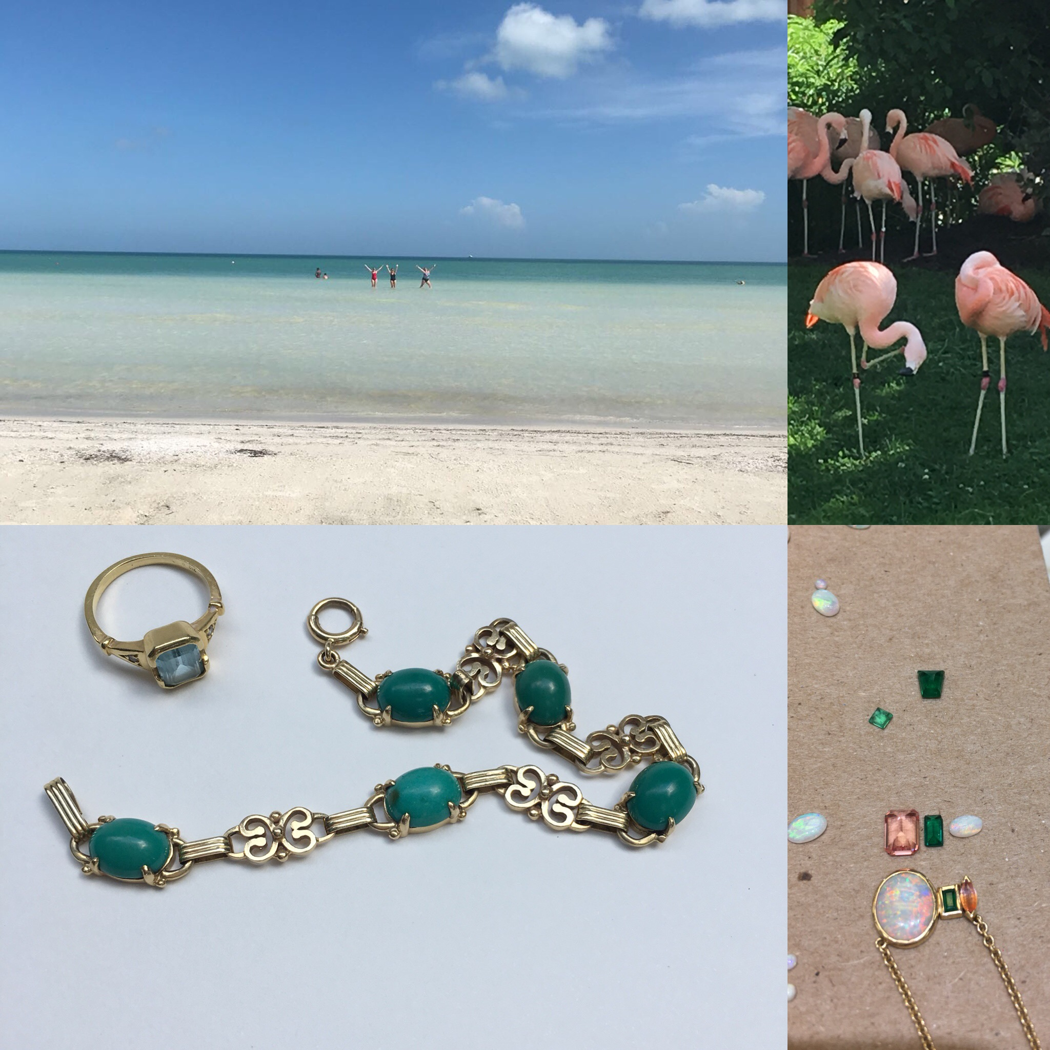 Style II - pinks and greens forever. gold pieces, a little playful and appropriate for vacations and everyday wear.