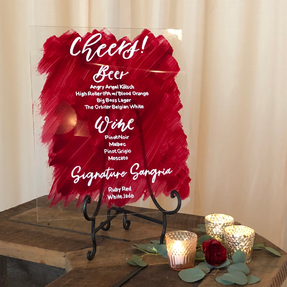 Lynn made this eye-catching sign offering yummy beverages for guests to enjoy after the ceremony.
