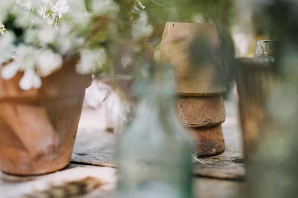 vintage flower pots and table dressing