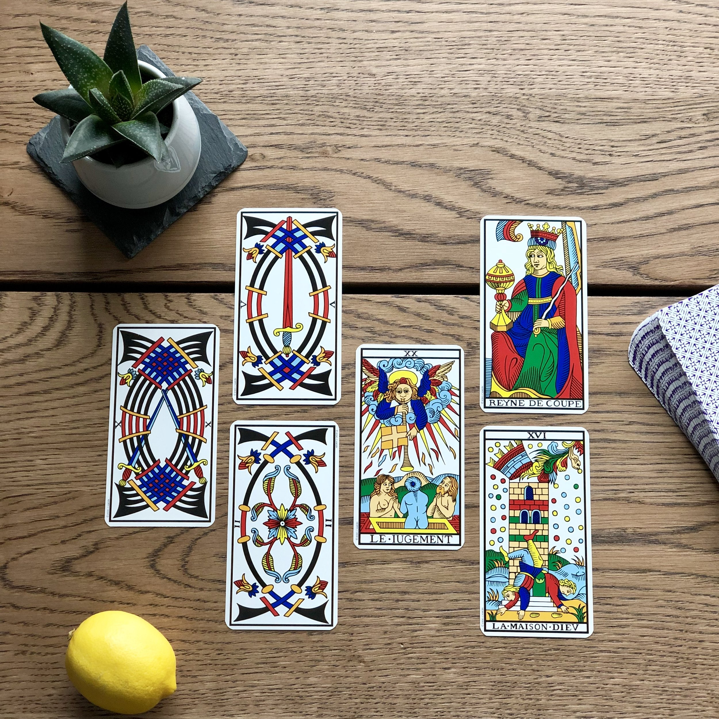 INTERVIEWING THE TAROT DE MARSEILLE - Tell me about yourself. 10 Épées.What are your strengths? 5 Épées.And your limitations? 2 Épées.*What are you here to help me learn? Le Jugement.How can I work with you most effectively? Reyne de Coupe.Where is our partnership headed? La Maison Dieu.