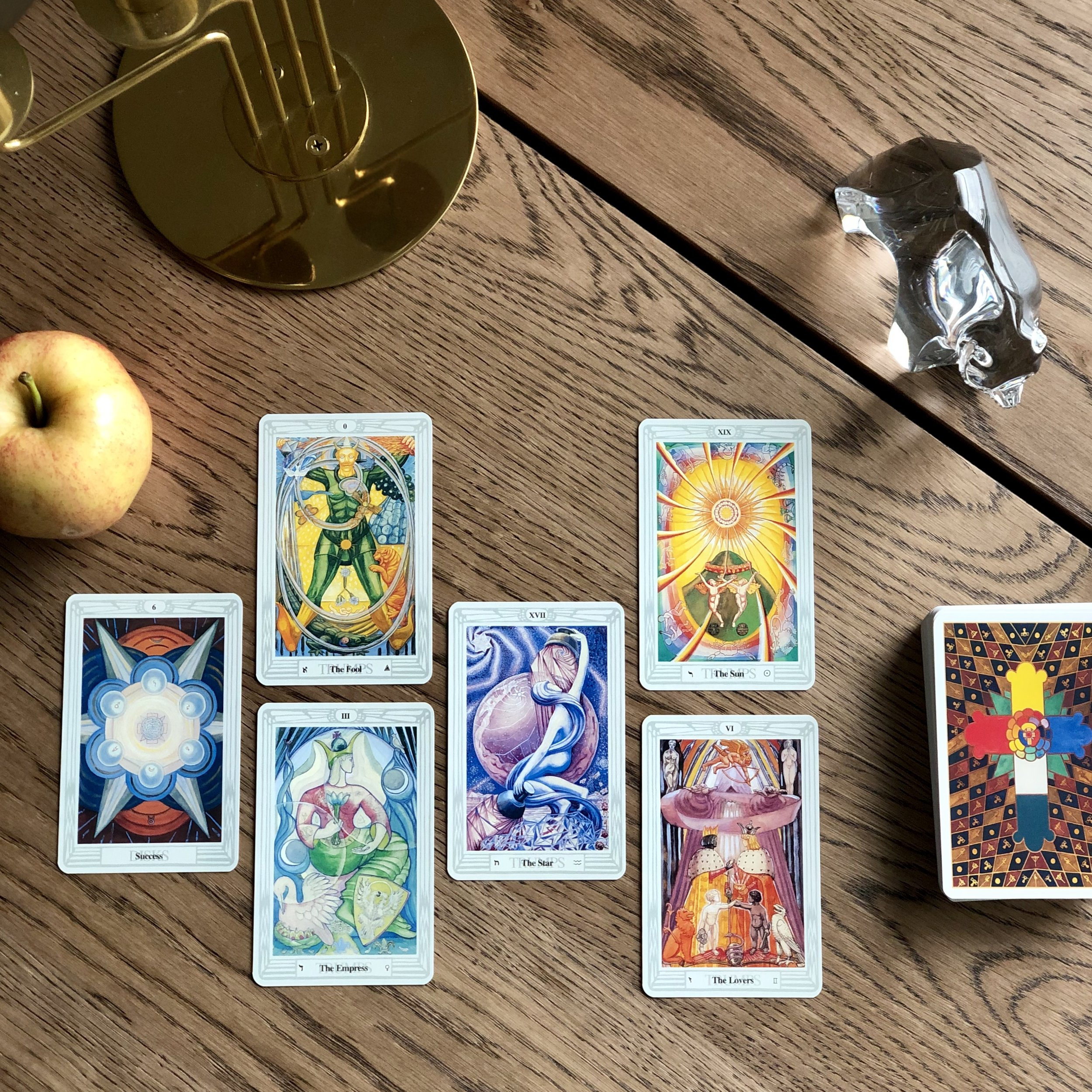 INTERVIEWING THE THOTH TAROT - Tell me about yourself. 6 of Disks.What are your strengths? The Fool.And your limitations? The Empress.What are you here to help me learn? The Star.How can I work with you most effectively? The Sun.Where is our partnership headed? The Lovers.