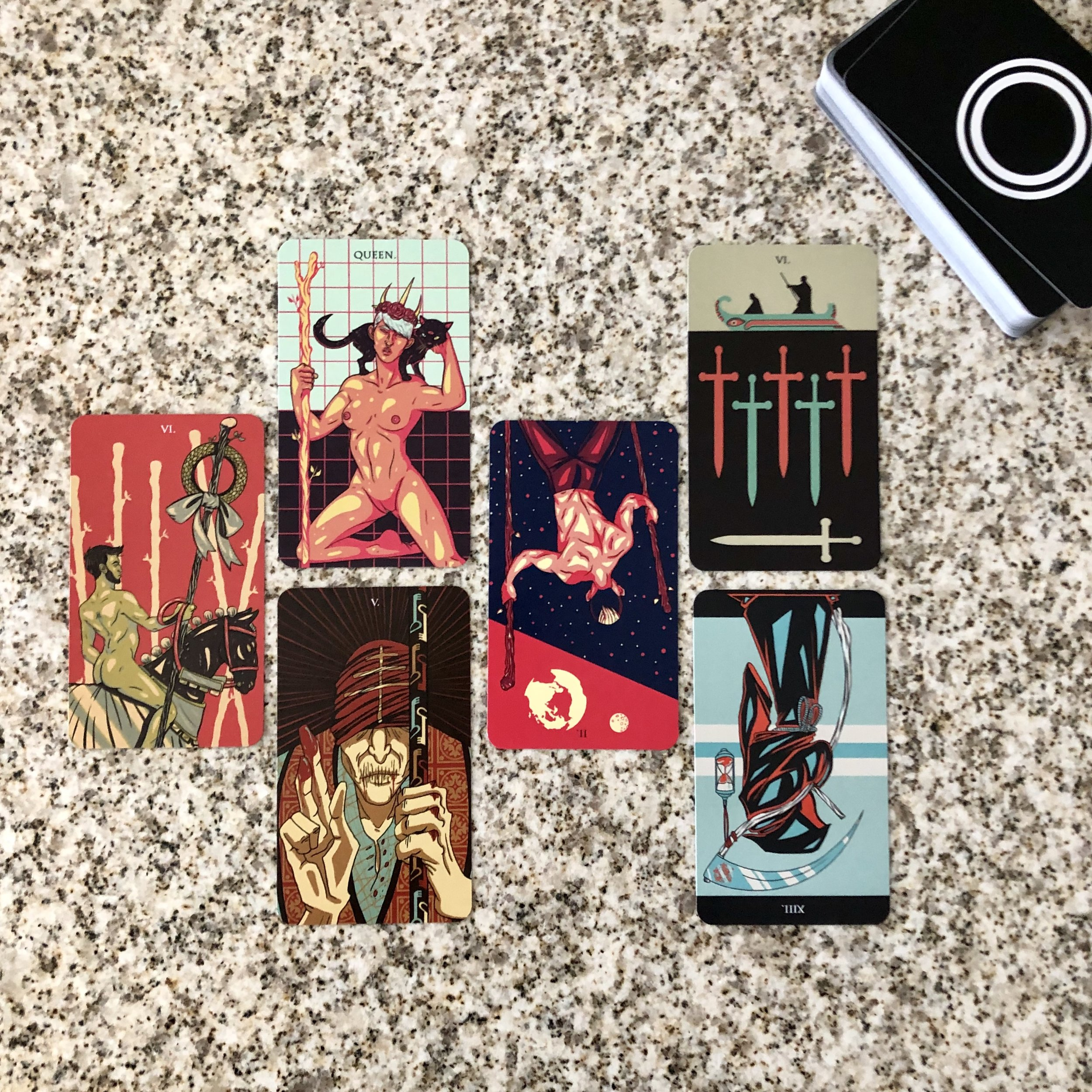 INTERVIEWING THE PRISMATIC TAROT - Tell me about yourself. 6 of Wands.What are your strengths? Queen of Wands.And your limitations? The Hierophant.What are you here to teach me? 2 of Wands (reversed).How can I work with you most effectively? 6 of Swords.Where is our partnership headed? Death (reversed).