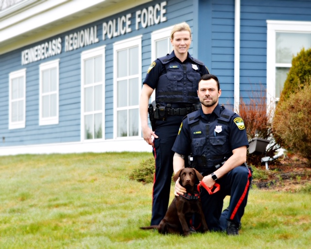 Officers Lindsey, Aaron and Rosa. Follow Rosa's adventure on Twitter: @ RoSa_K9pup