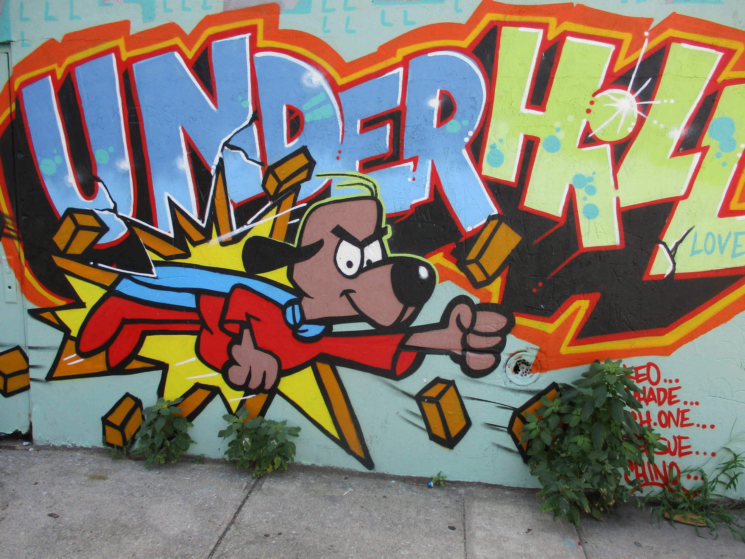 At the corner of Lincoln Place and Underhill Ave., an artist celebrates the dynamism of Underhill with a super dog.
