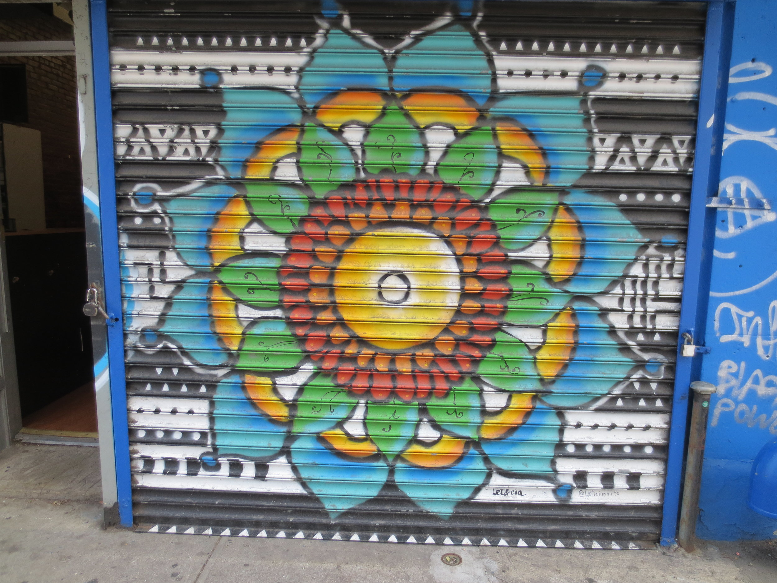 A store front on Nostrand beautified with a handsome design.