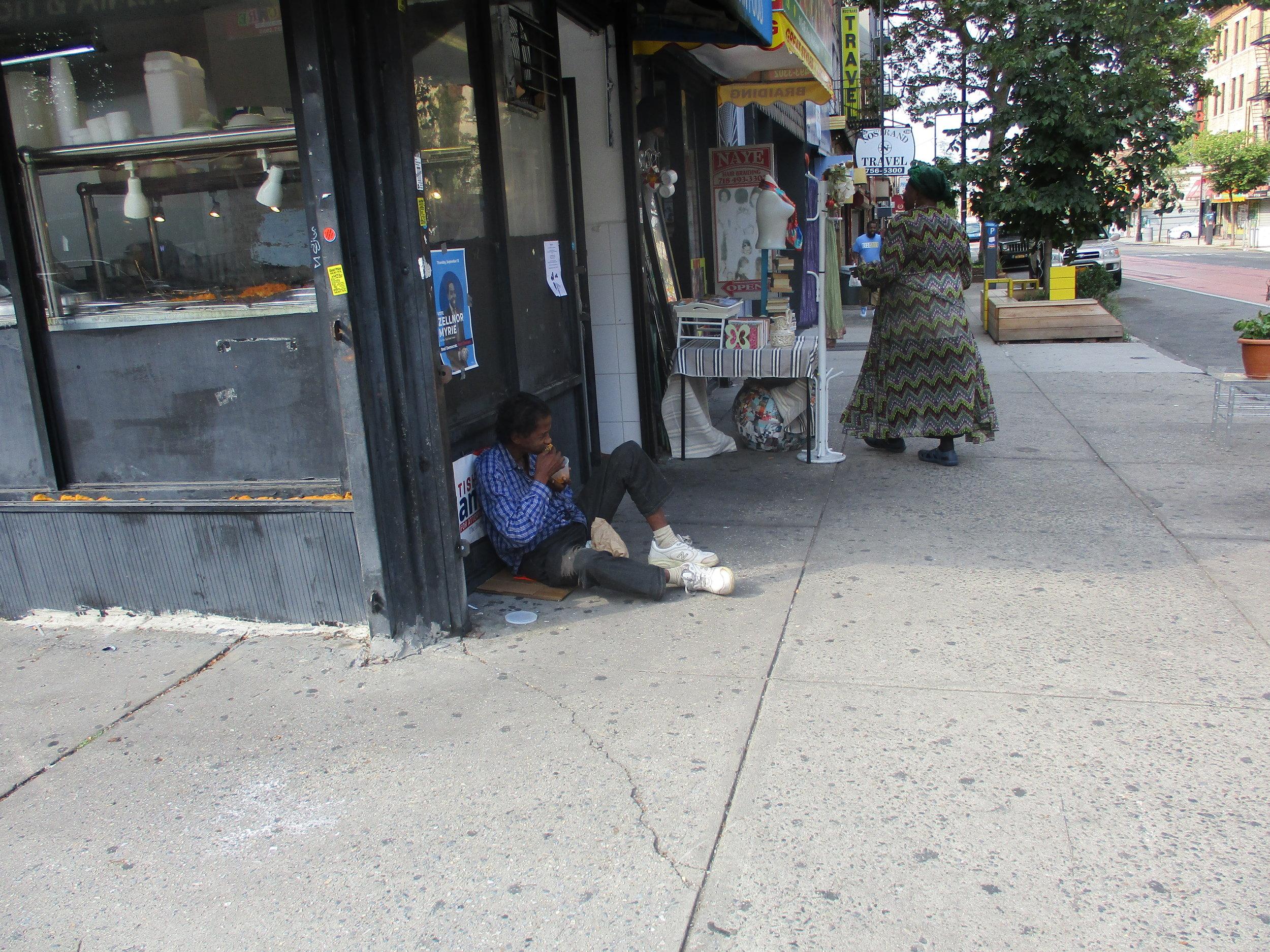 Regular beggar asking for food on Nostrand Avenue