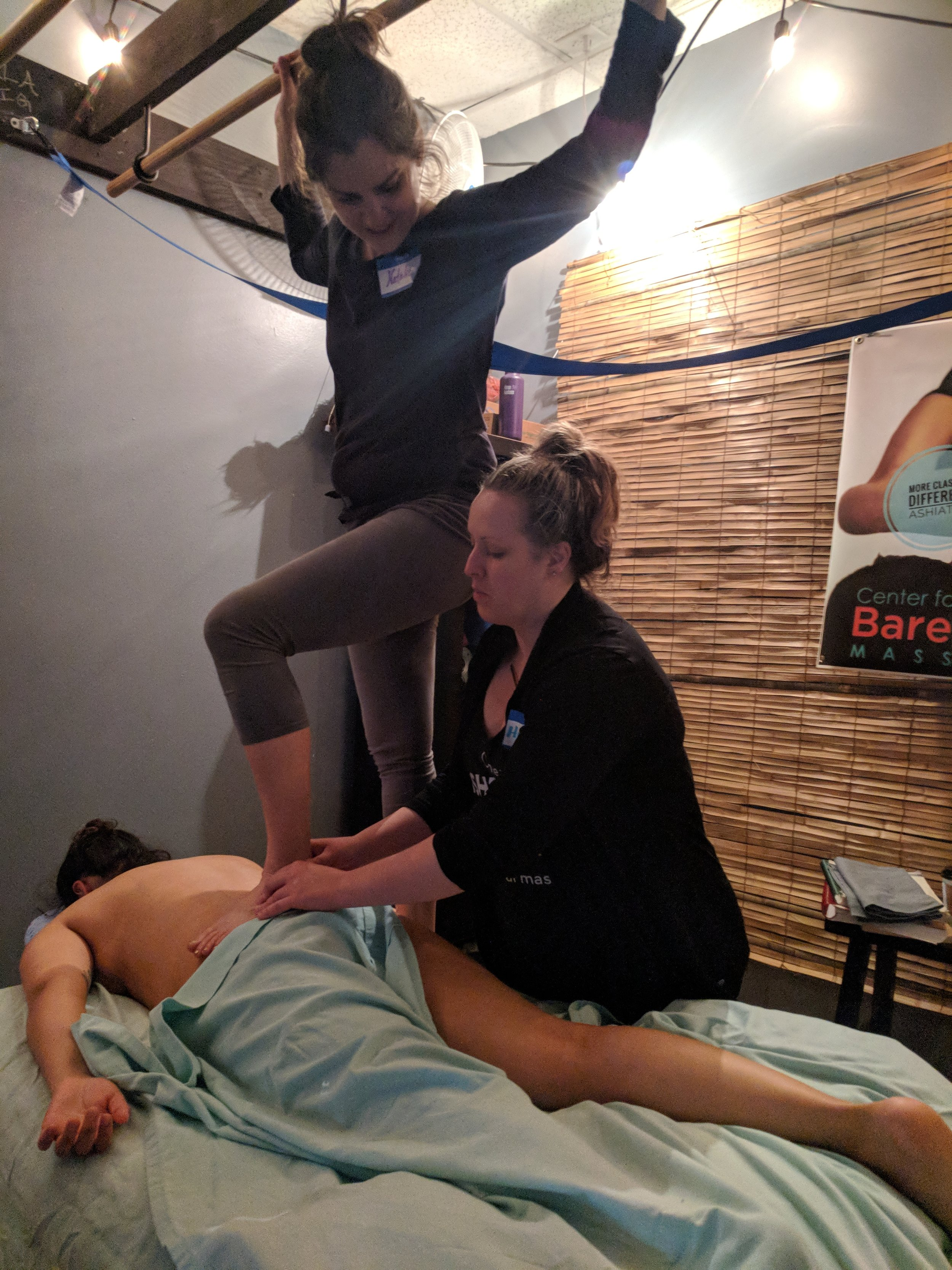We don't just teach Ashiatsu… we live and breathe it. - If you've heard of barefoot massage in the last 10 years - chances are the waves we have been making in Texas are what rippled into your point of view!The Texas Ashiatsu scene is a big part of the forward momentum across the growing barefoot massage industry. Our Texas Ashiatsu Instructors, Jeni Spring and Hillary Arrieta, are involved with the Texas AMTA, the AFMTE, NCBTMB, and local massage school boards. We stay in touch with our profession at the state and national level so that we can help create change for the future of Barefoot Massage Therapists.We practice what we teach: as FasciAshi instructors, we continue to offer barefoot massage services to our own clients in addition to teaching continuing education courses. We believe that maintaining an active practice in what we teach keeps the material fresh, evolving, and responsive.Plus, we love the work so much that we want to continue massaging! (We'll be two feet deep in our clients muscles until we are 6 feet deep in the ground!)Learn More About Your Instructors