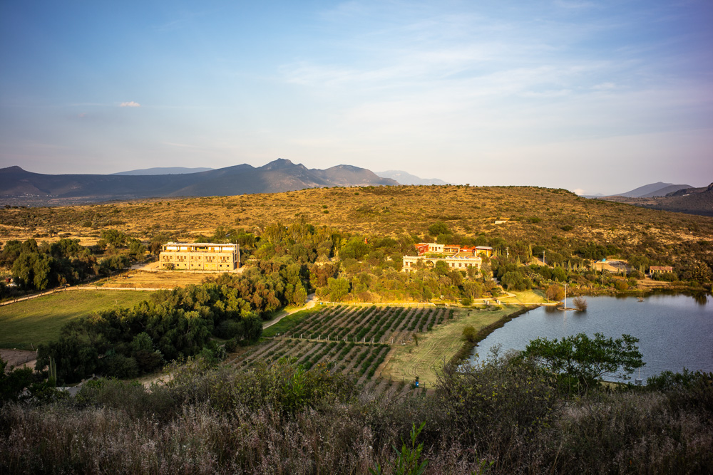 A view of Hacienda Tovares from the hill above the property, Queretaro, Mexico