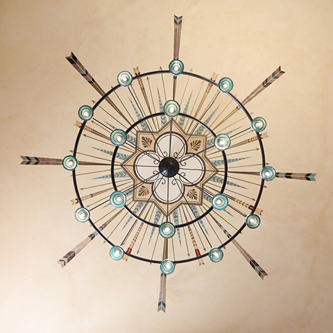 Chandelier with painted ceiling rosette