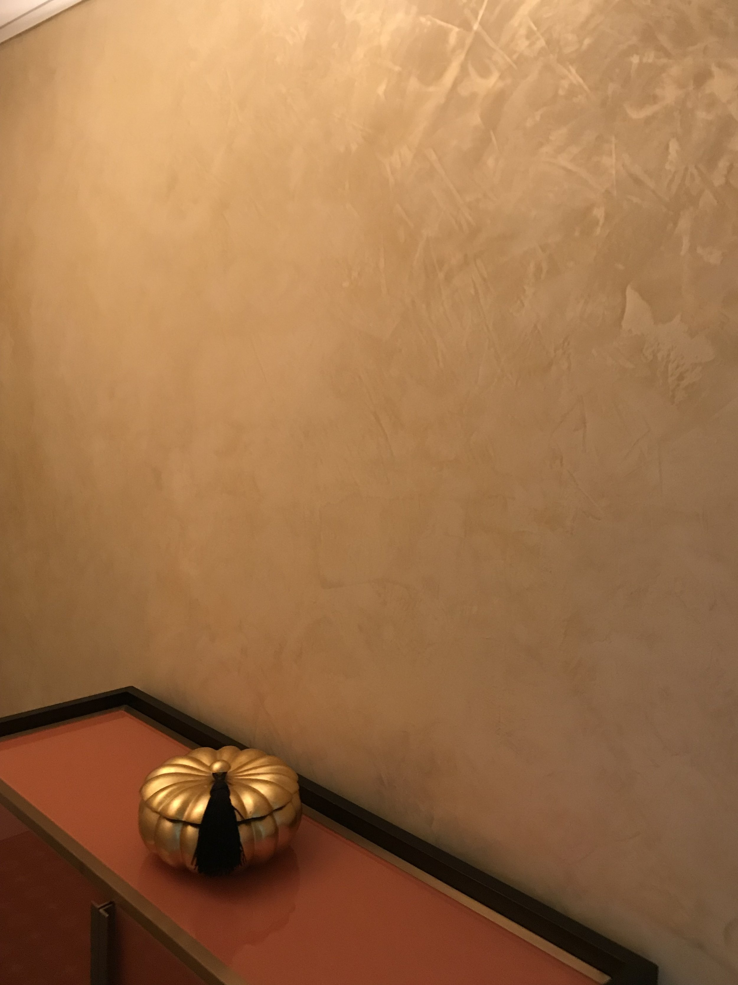 Old World Venetian Lime Plaster with Gold Wax