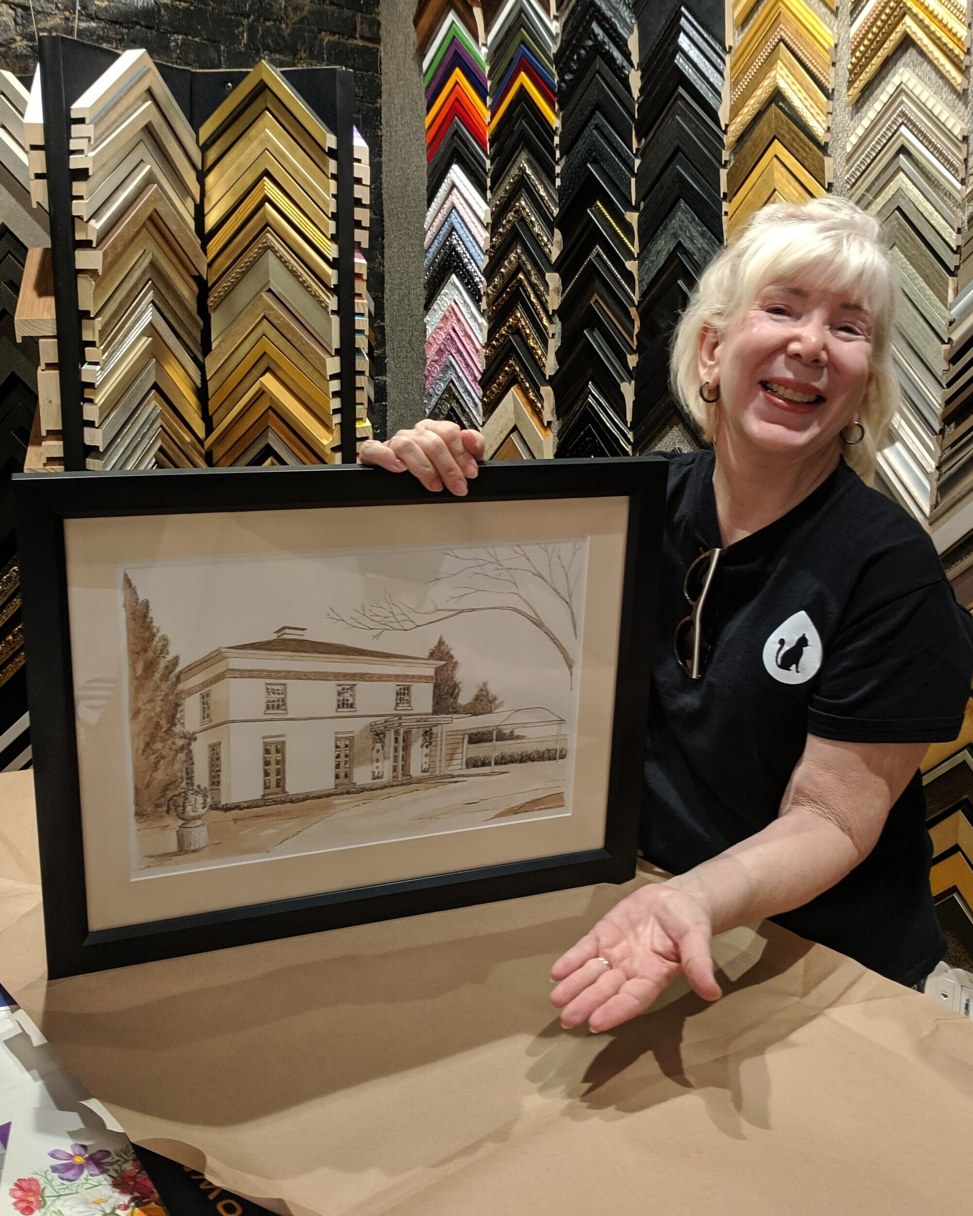 "Nancy Drake - Tell us about your project""We wanted to frame this as a present for our son – it is a picture of the house he grew up in.""What should others know about Rumjahn Frames?""Exquisite work!"""