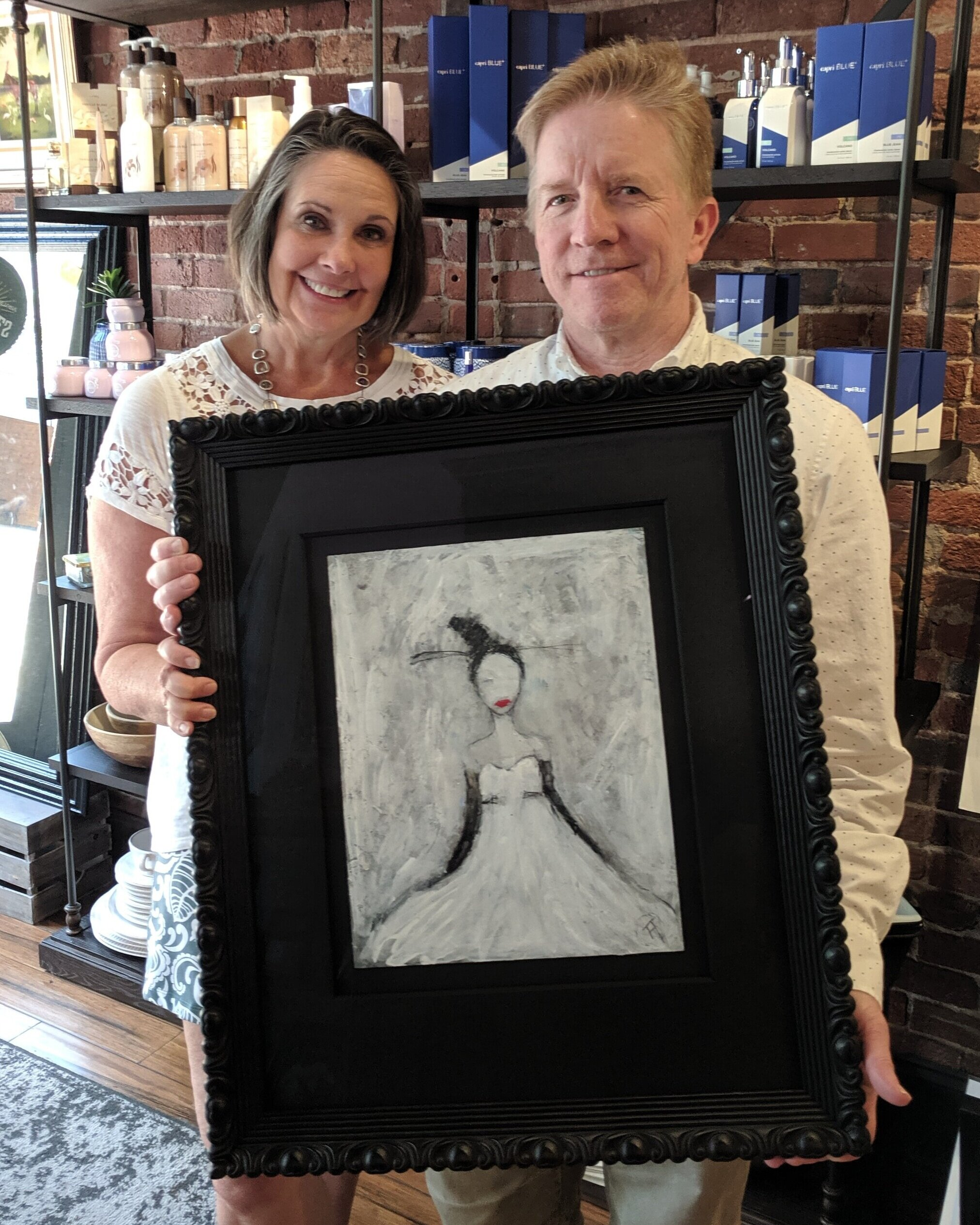 "Greg & Lisa Kinler - Please share a little about this project:""We found this painting on the internet and needed a lot of help with framing.""What do you want others to know about Rumjahn Custom Framing?""The service was great. Great help in selecting the frame, mats and mounting."""