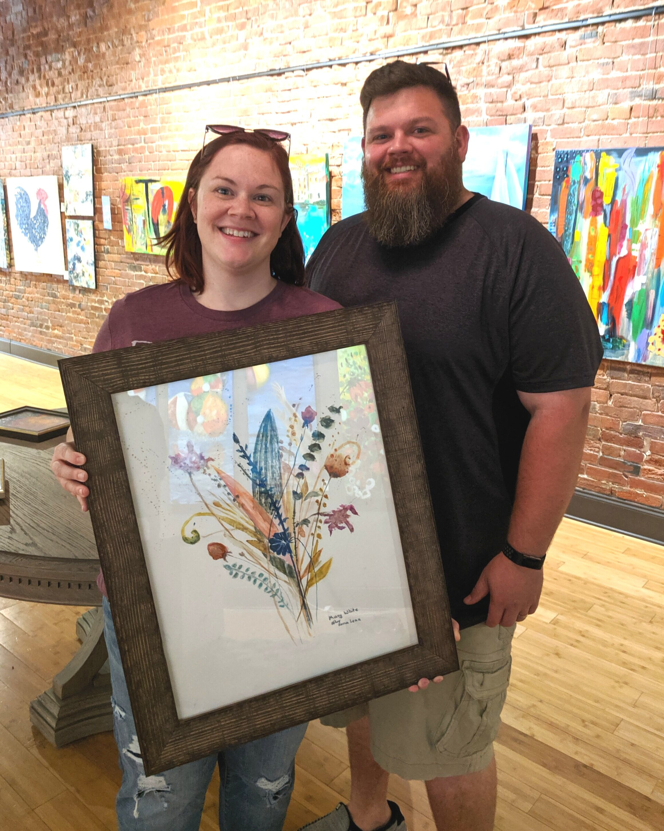 "Amy and Aaron Land - Tell us about the three paintings you had framed:""My aunt painted the watercolors for a room in my home. The room is where my mom stays, and I asked my aunt to paint them for her after my dad died.""Will you share a little with others about Rumjahn Custom Framing?""I have had a great experience with Rumjahn. I've had several pieces framed. I hope they will become family heirlooms."""