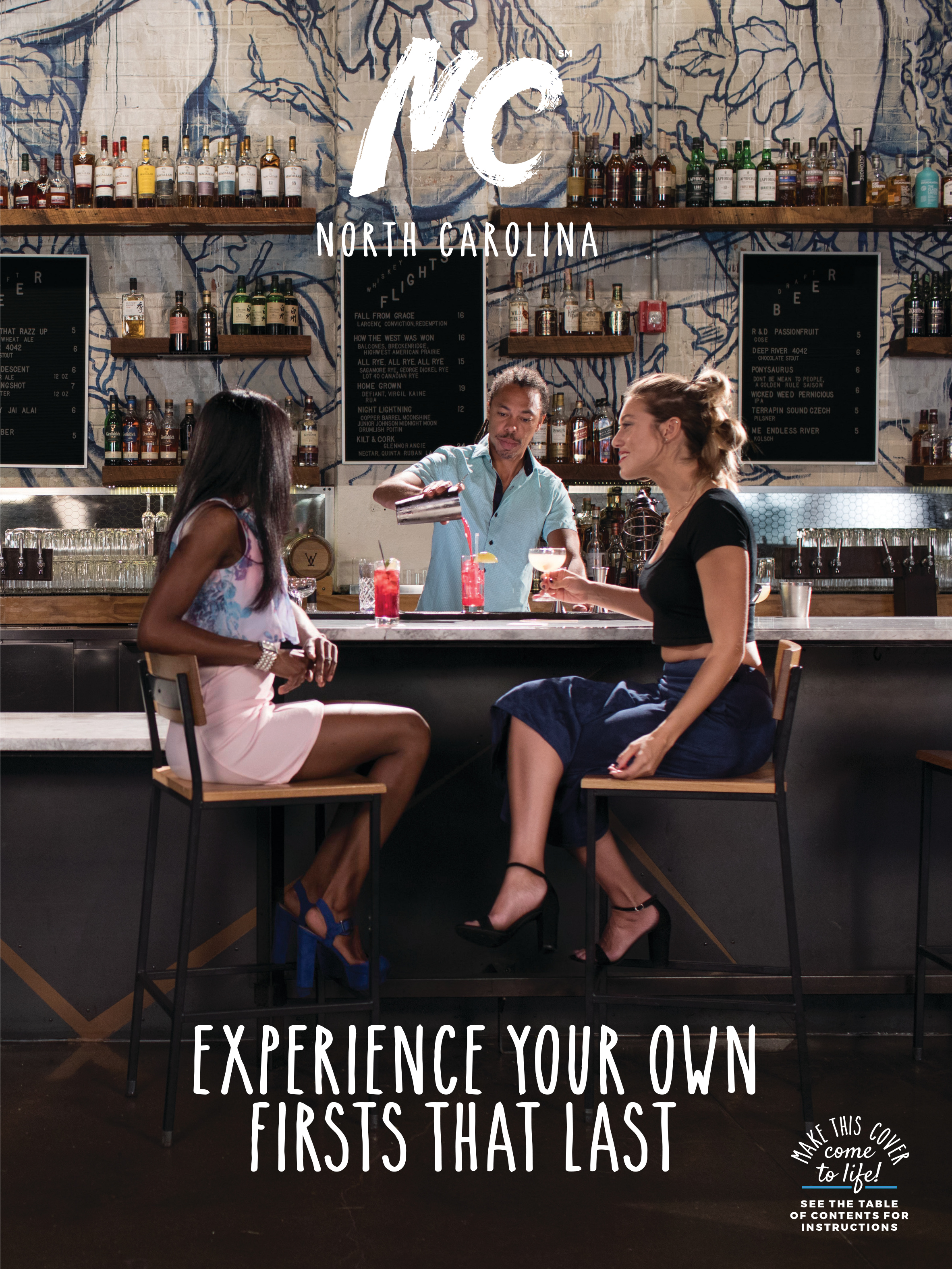 Cover Shoot at Whiskey Kitchen - For 2019 NC Travel Guide, we were asked to capture a nighttime bar scene at Whiskey Kitchen for their Piedmont cover feature. The cover comes to life as a video we also shot, brought to life through the Layars app.