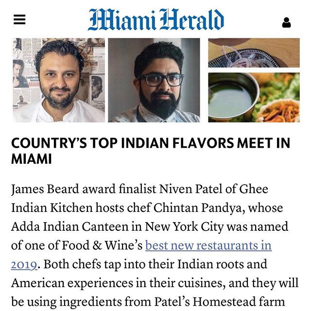 Thank you @miamiherald - So excited for Aug 25 @gheemiami. Explosive 🧨 flavors by @chefniven & @chefchintan [link in bio] • • • #nytimes #jamesbeardfoundation #jamesbeardhouse #eater #eeeeeats #miami #nyc #collaboration #flavors #indianfood #farm #farmfresh #national #bestinamerica