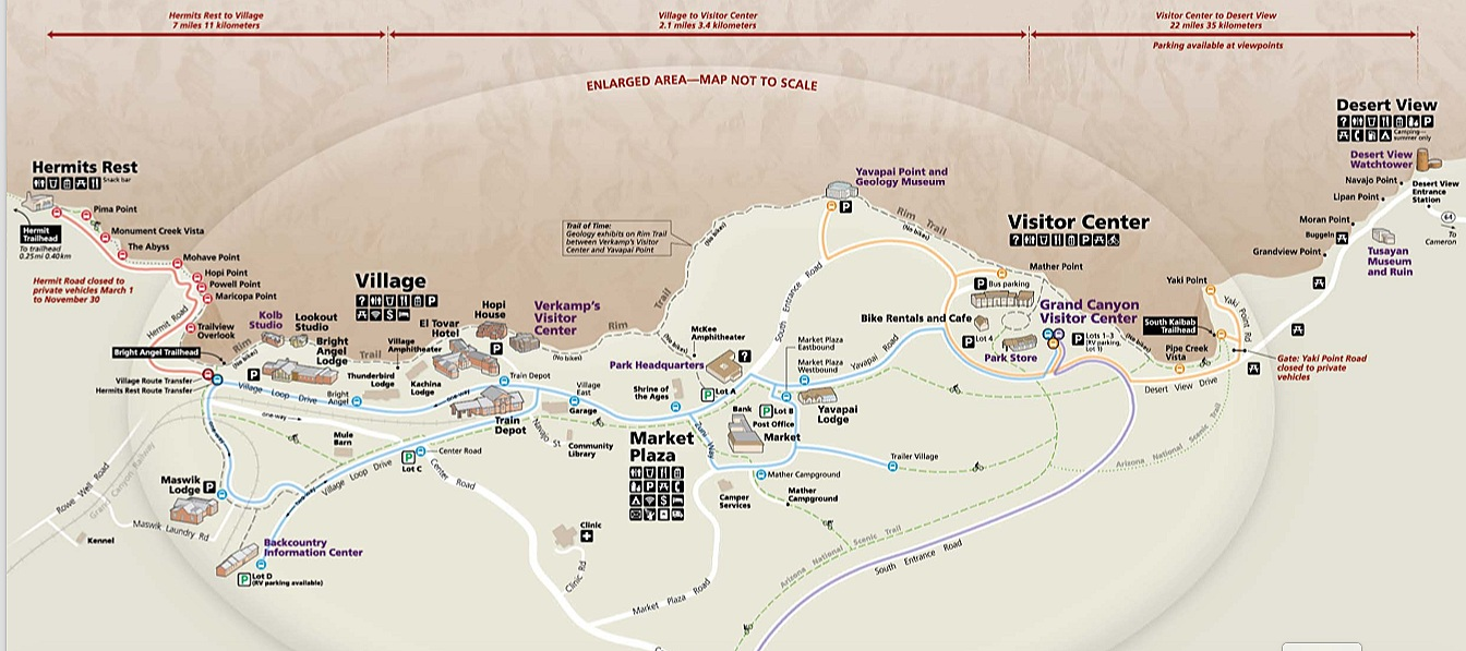 Find a PDF version of the South Rim Village map and shuttle system  HERE .