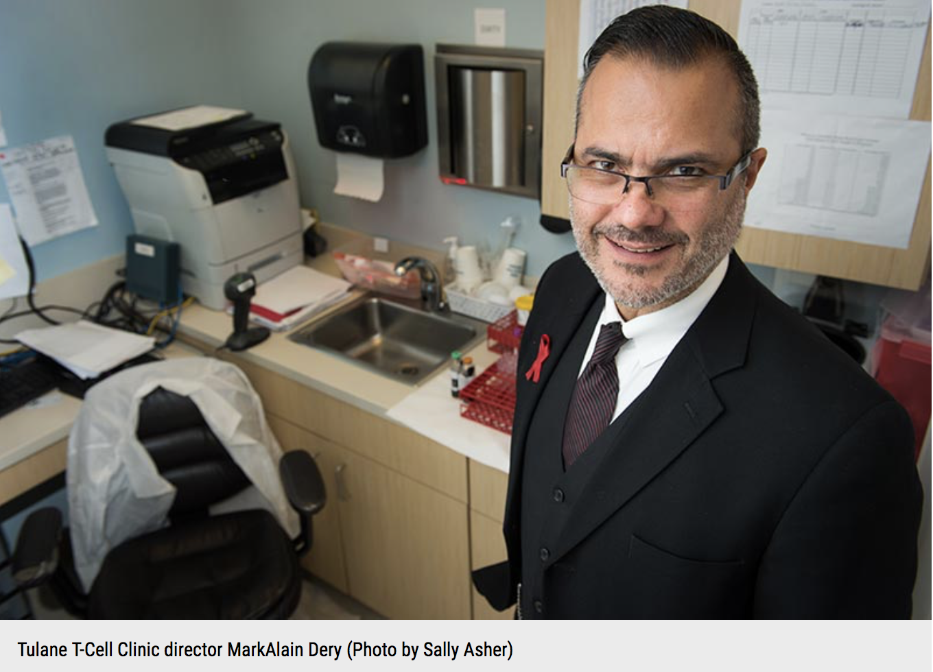 Dr. Dery and his HIV clinic featured in TIME Magazine - Very little about Dr. MarkAlain Dery could be described as ordinary. The HIV specialist at Tulane University in New Orleans favors three-piece suits and French-cuff shirts to white coats, khakis and Crocs. Under his shirtsleeves, his arms are a canvas for tattoos–a fleur-de-lis, an old-school radio microphone, a sexy portrait of his wife. Standard modes of transportation aren't for him, either. Stashed in the corner of his office is the four-wheeler he uses to get around town: his skateboard.Full Article HERE