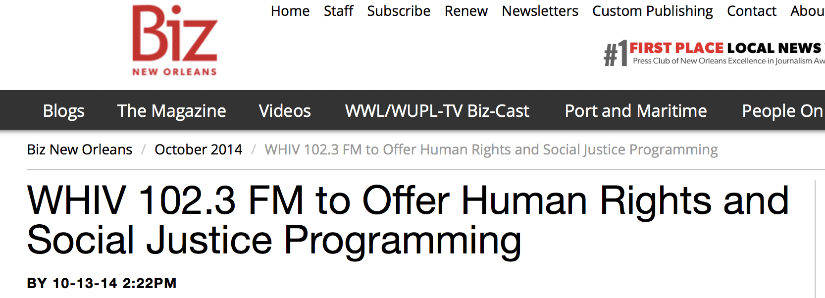Human Rights and Social Justice Programming - A new New Orleans radio station is scheduled to hit the airways by World AIDS Day on Dec. 1, 2014.WHIV 102.3 FM, will offer programming dedicated to human rights and social justice.Full Article HERE