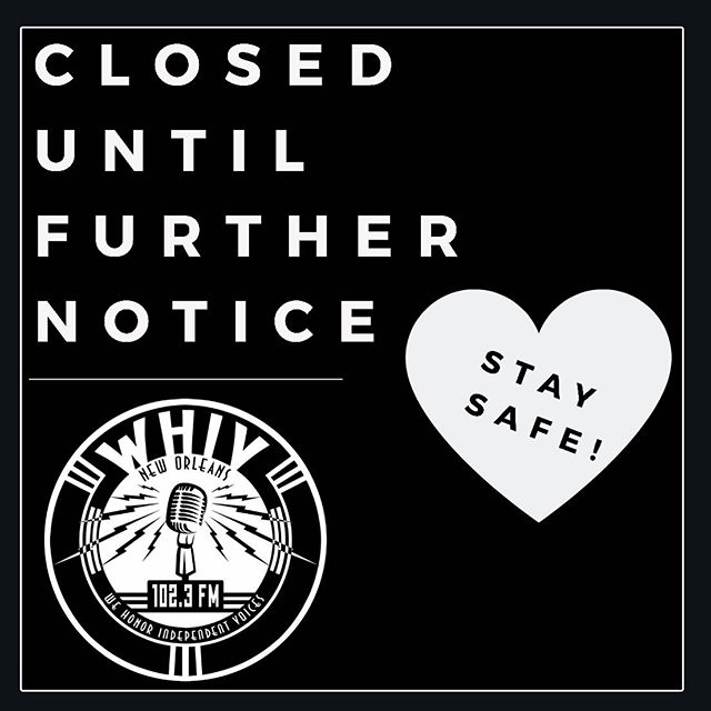 Due to inclement weather and flooding, WHIV will be down until further notice. We hope that everyone stays safe. ❤️