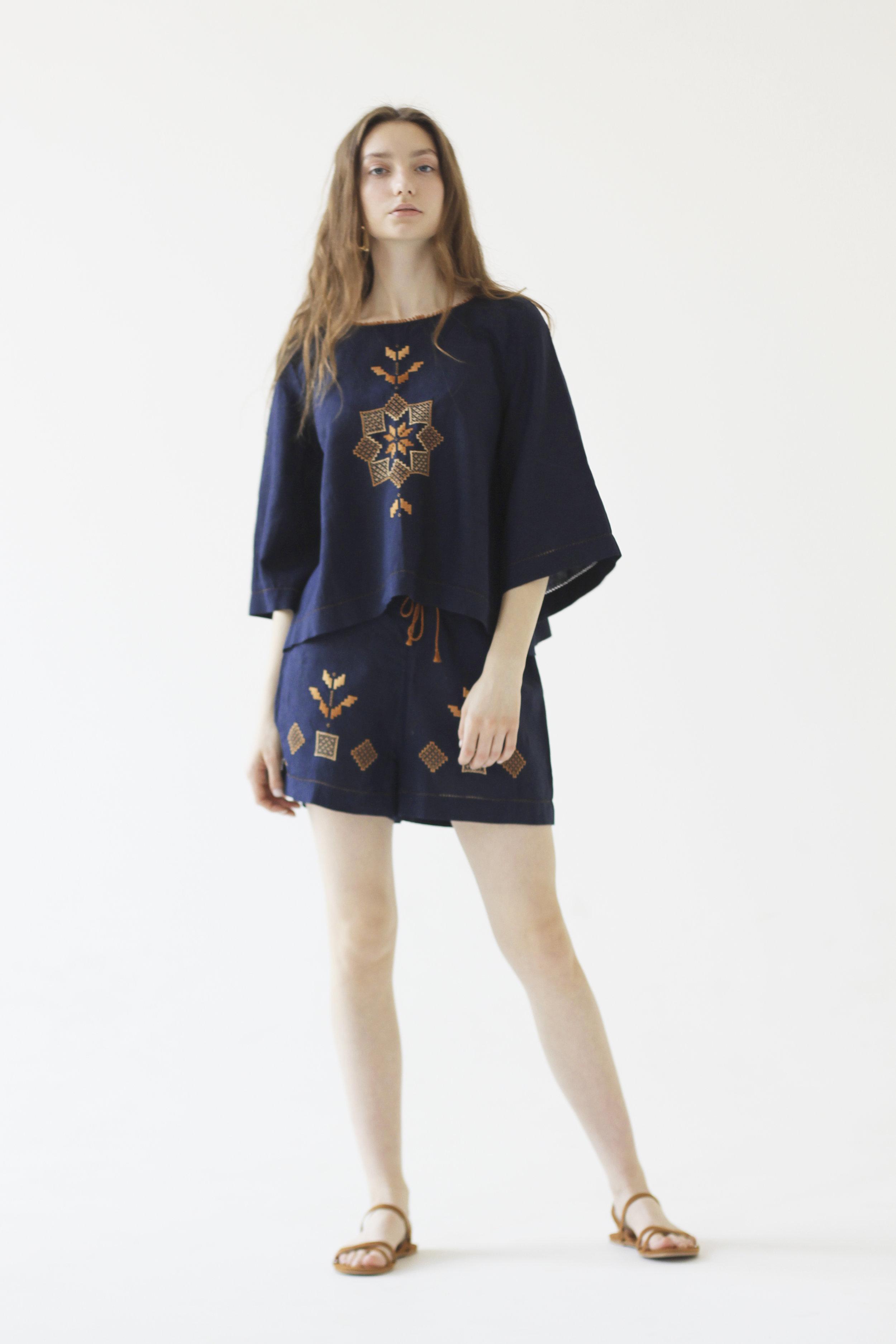 Araks Top + Shorts Gold on Blue.jpg
