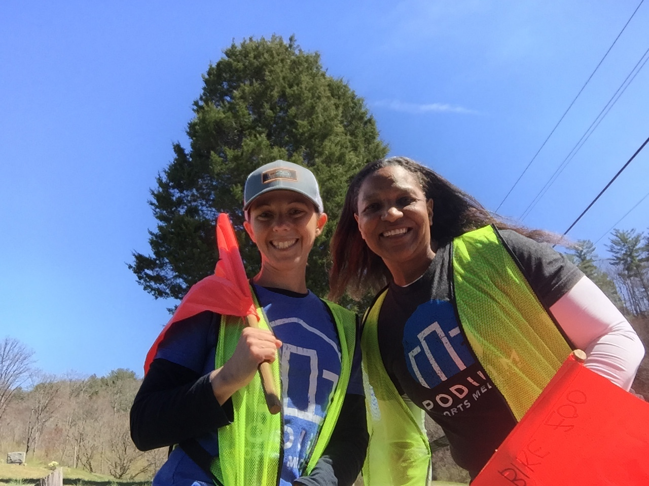 Shameka and Renee out volunteering at the Oak Ridge Velo Classic