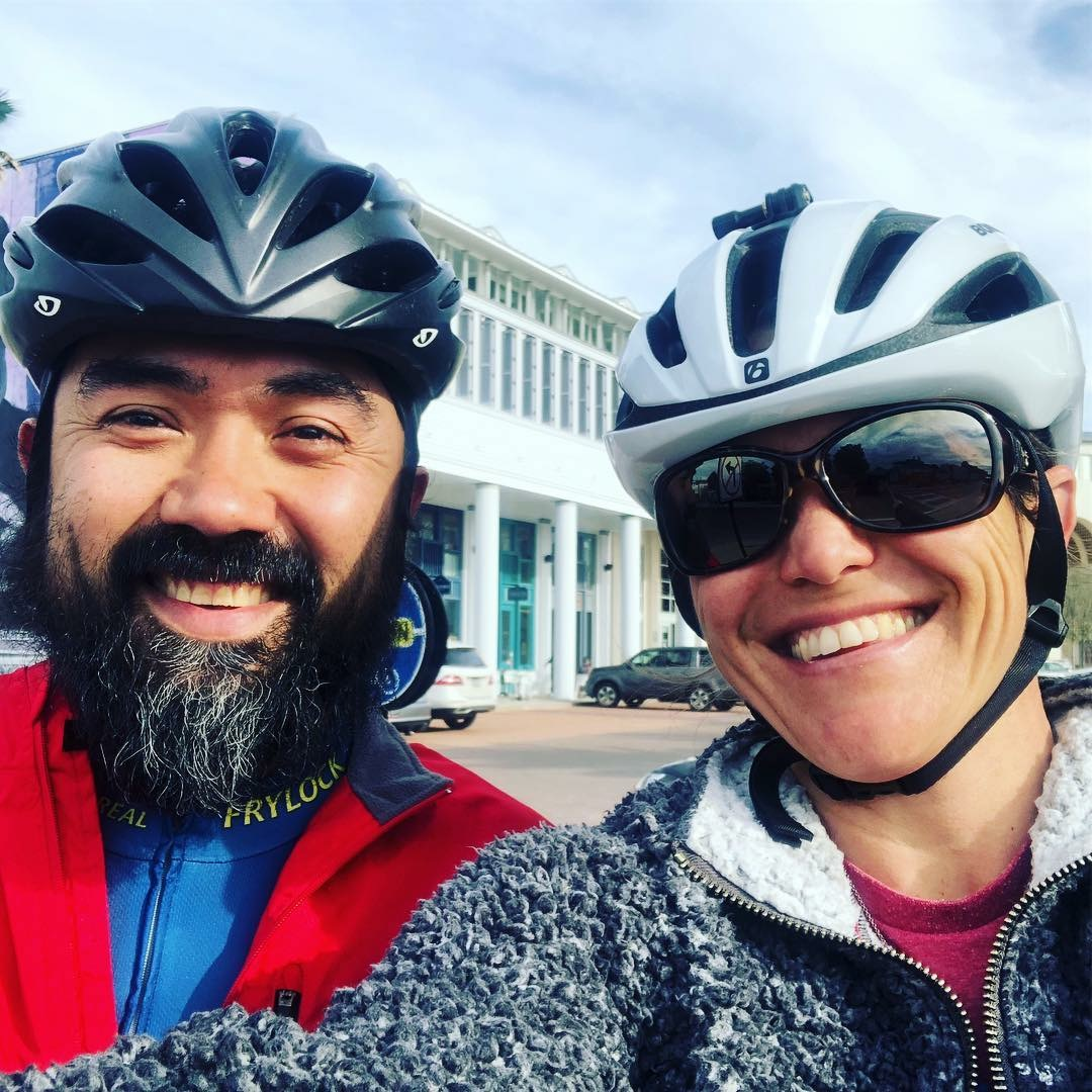 Horacio and Sarah out living it up on Bikes