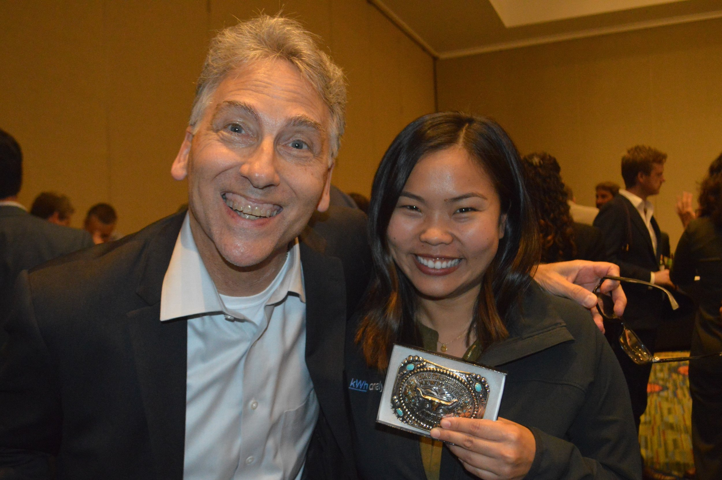 Dan Carol, the Senior Advisor of Infrastructure and Energy for the Office of Governor Jerry Brown, presented kWh Analytics team member Sarah Matsui with the Global Climate Action Summit's 2018 Finance Innovation Award.