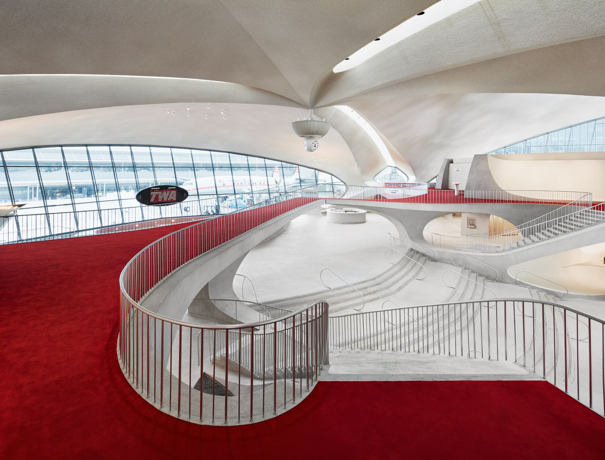 Saarinen's curving lines from the upper levels of the TWA Hotel lounge.