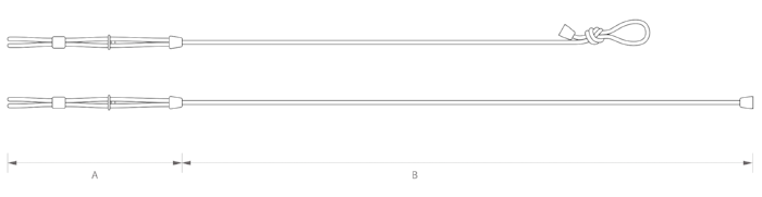 "SMALL    A    ADJUSTABLE PART'S LENGTH: MAX. 18""(46cm) - MIN. 13""(33cm)   B    FIXED PART'S LENGTH: 62""(158cm)  TOTAL LENGTH: MAX. 80""(204cm)  ROPE THICKNESS: Ø 0.315""(8mm)   MEDIUM    A    ADJUSTABLE PART'S LENGTH: MAX. 22""(55cm) - MIN. 17""(43cm)   B    FIXED PART'S LENGTH: 67""(170cm)  TOTAL LENGTH: 89"" (226cm)  ROPE THICKNESS:  Ø  0.47""(12mm)   LARGE    A    ADJUSTABLE PART'S LENGTH: MAX. 27""(68cm) - MIN. 21""(53cm)   B    FIXED PART'S LENGTH: 71""(170cm)  TOTAL LENGTH: 98"" (249cm)  ROPE THICKNESS:  Ø  0.47""(12mm)"