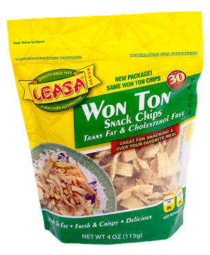 Ingredients:  Wheat Flour, Water, Egg, Salt, Corn Starch, Yellow Food Coloring (FD&C Yellow #5 & Red #40, Citric Acid, Sodium Benzoate), Soybean Oil.  Contains:  Wheat & Soy.