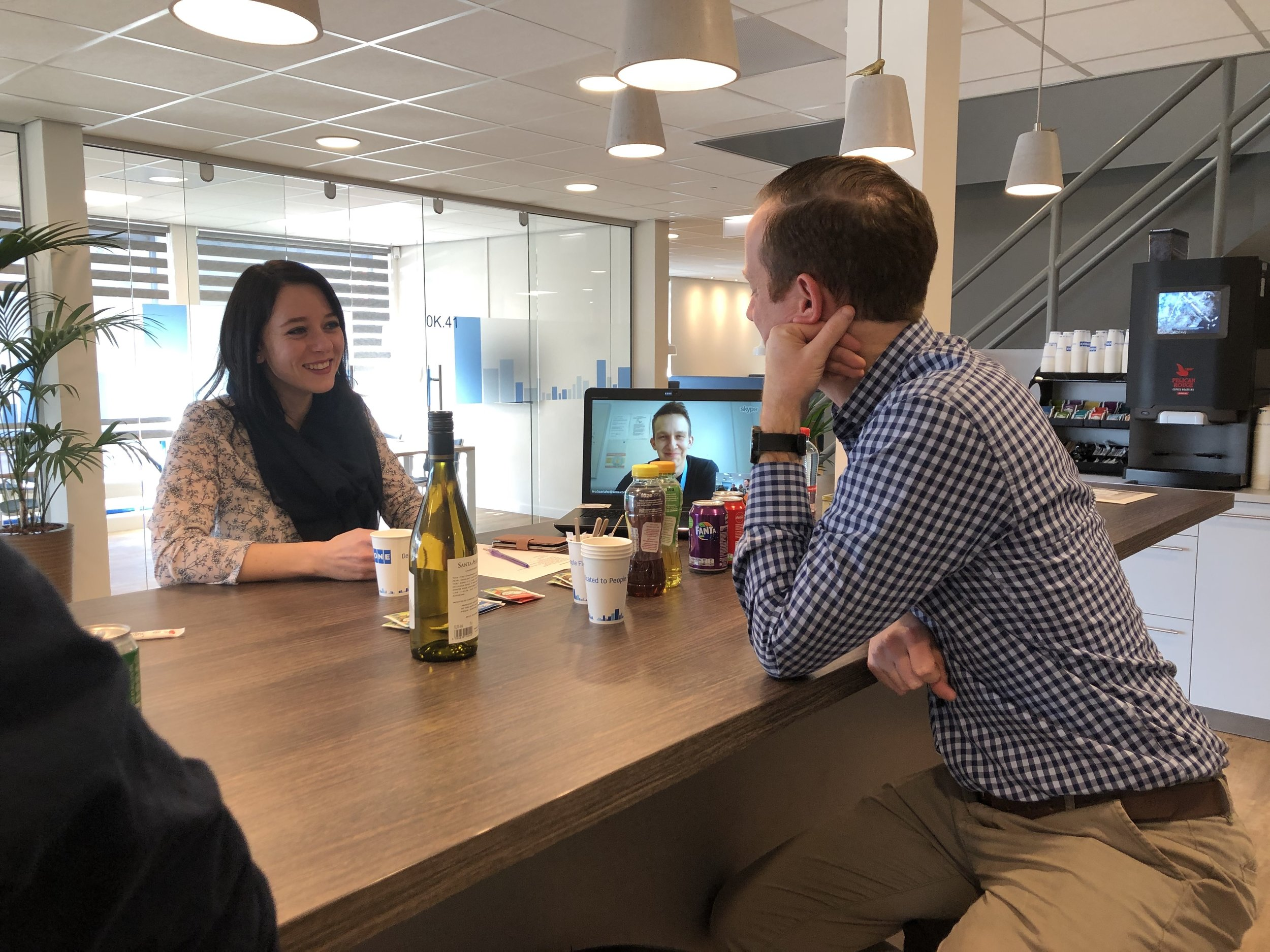 """""""Eén thee alsjeblieft""""….During our recent training at KONE we created a bar including real life cafe sounds. Every student ordered a drink at the bar in proper Dutch. Don't worry, we didn't open the bottle of wine ;)"""