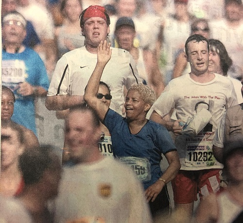Mayor Shirley Franklin running the AJC Peachtree Road race in 2003