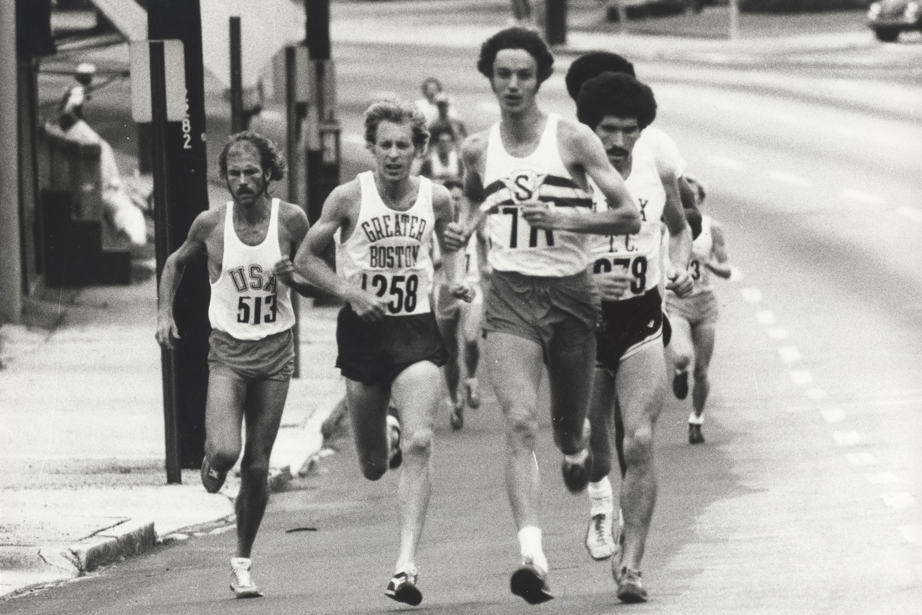 From left to right: Jeff Galloway, Bill Rodgers and Don Kardong race in the 1976 Peachtree