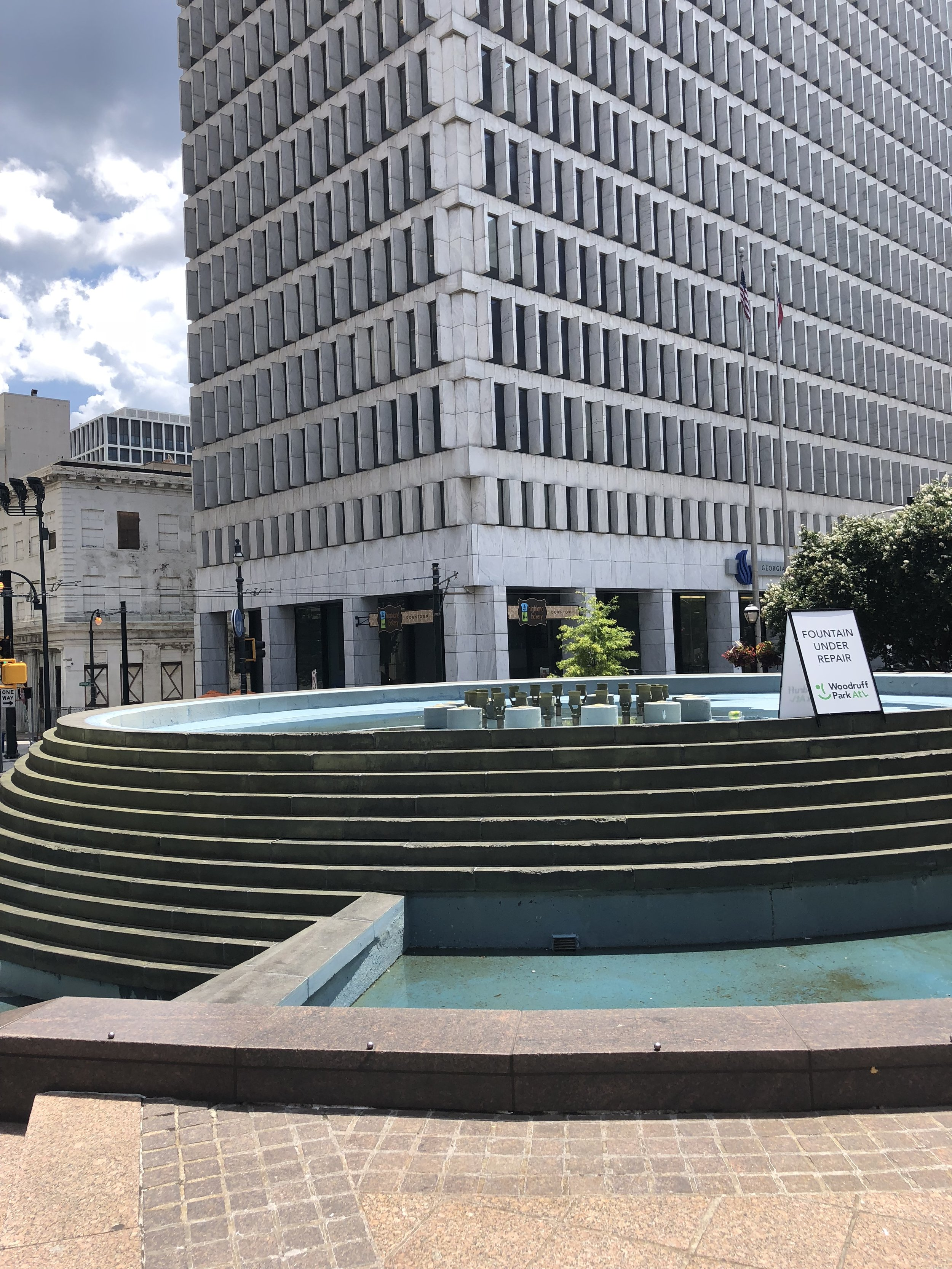 The Woodruff Park fountain, currently being repaired.