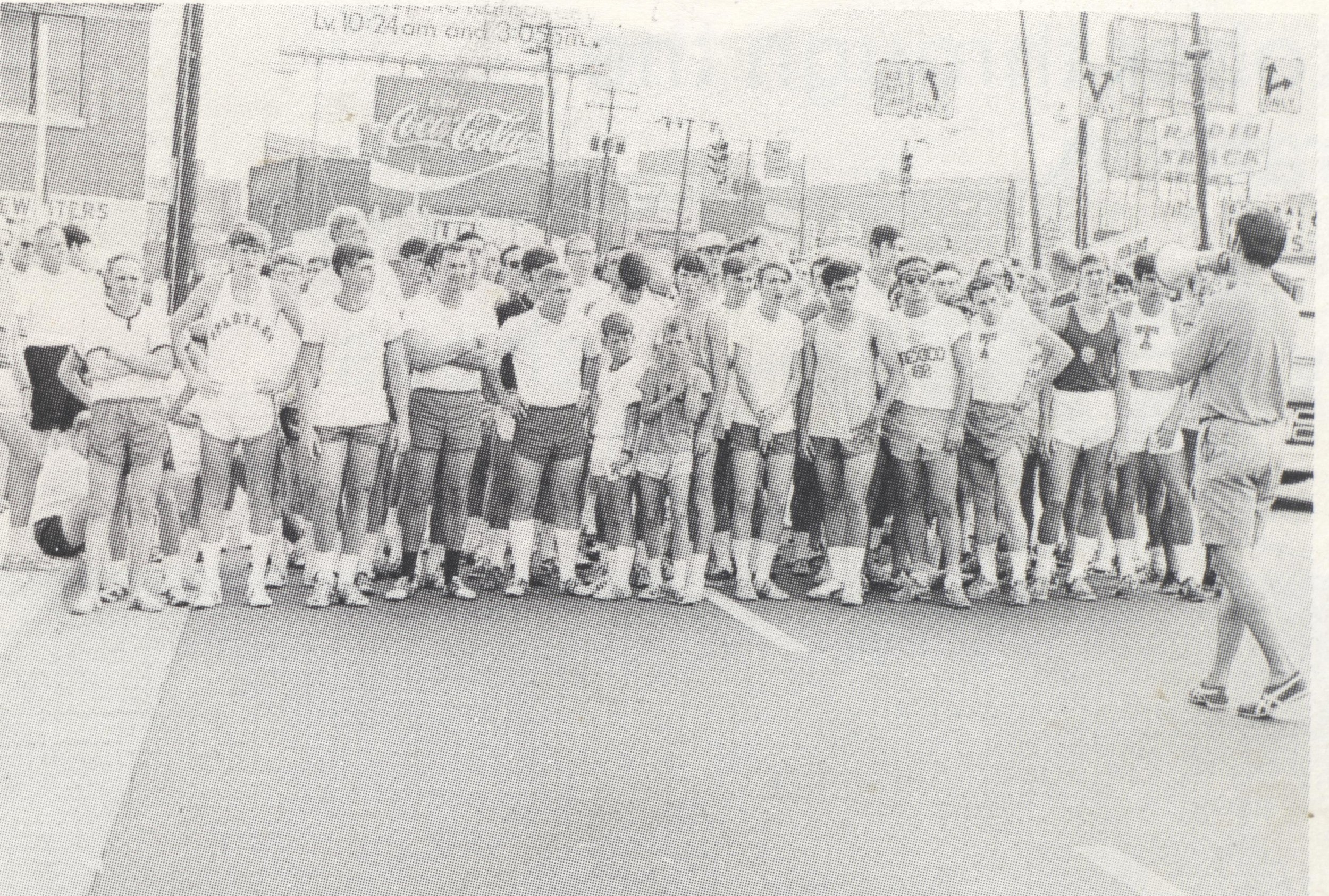 The start of the 1970 Peachtree. Tim Singleton is holding the bullhorn.