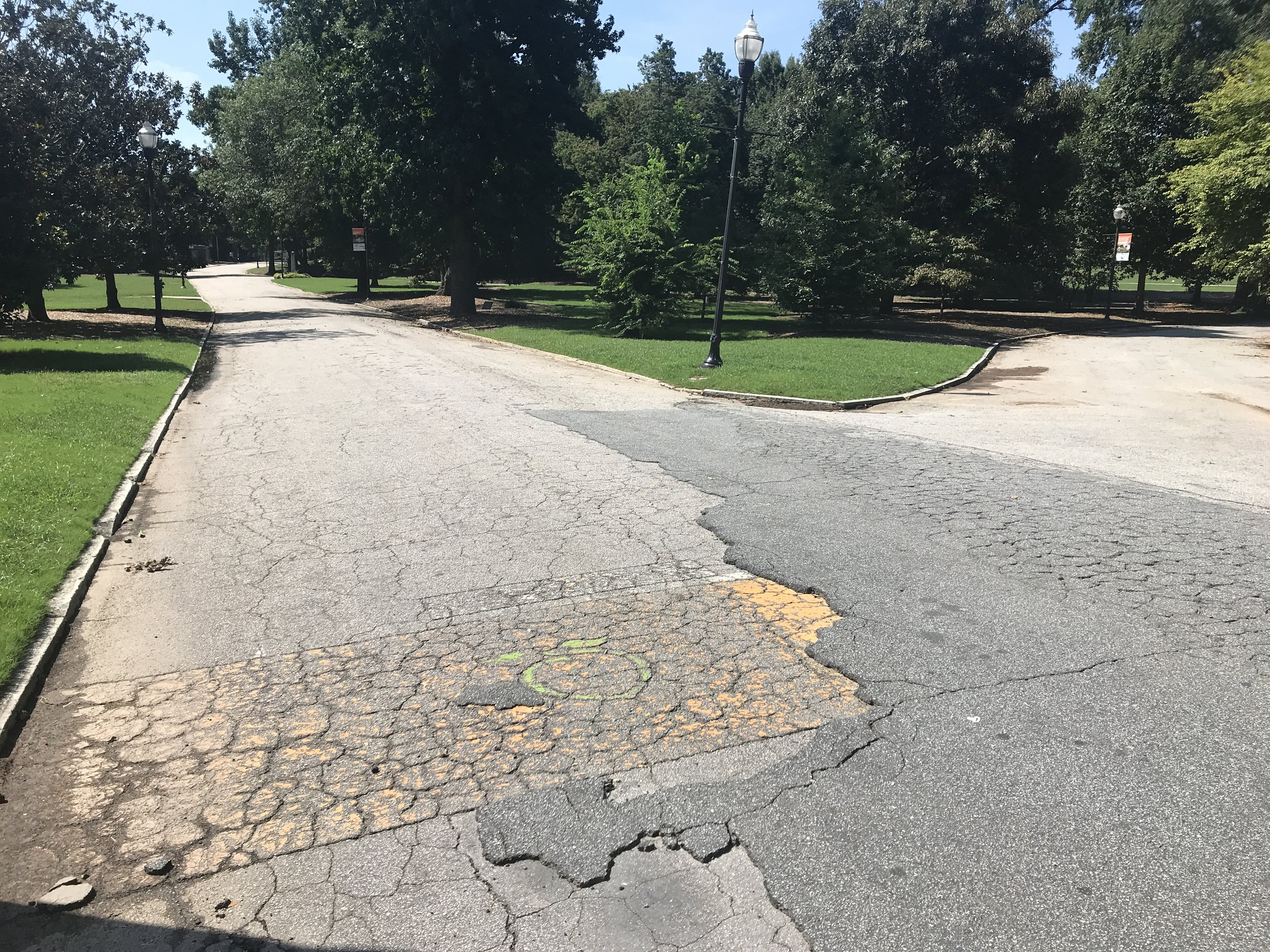 The paint from the former finish line is still visible inside Piedmont Park in 2018.