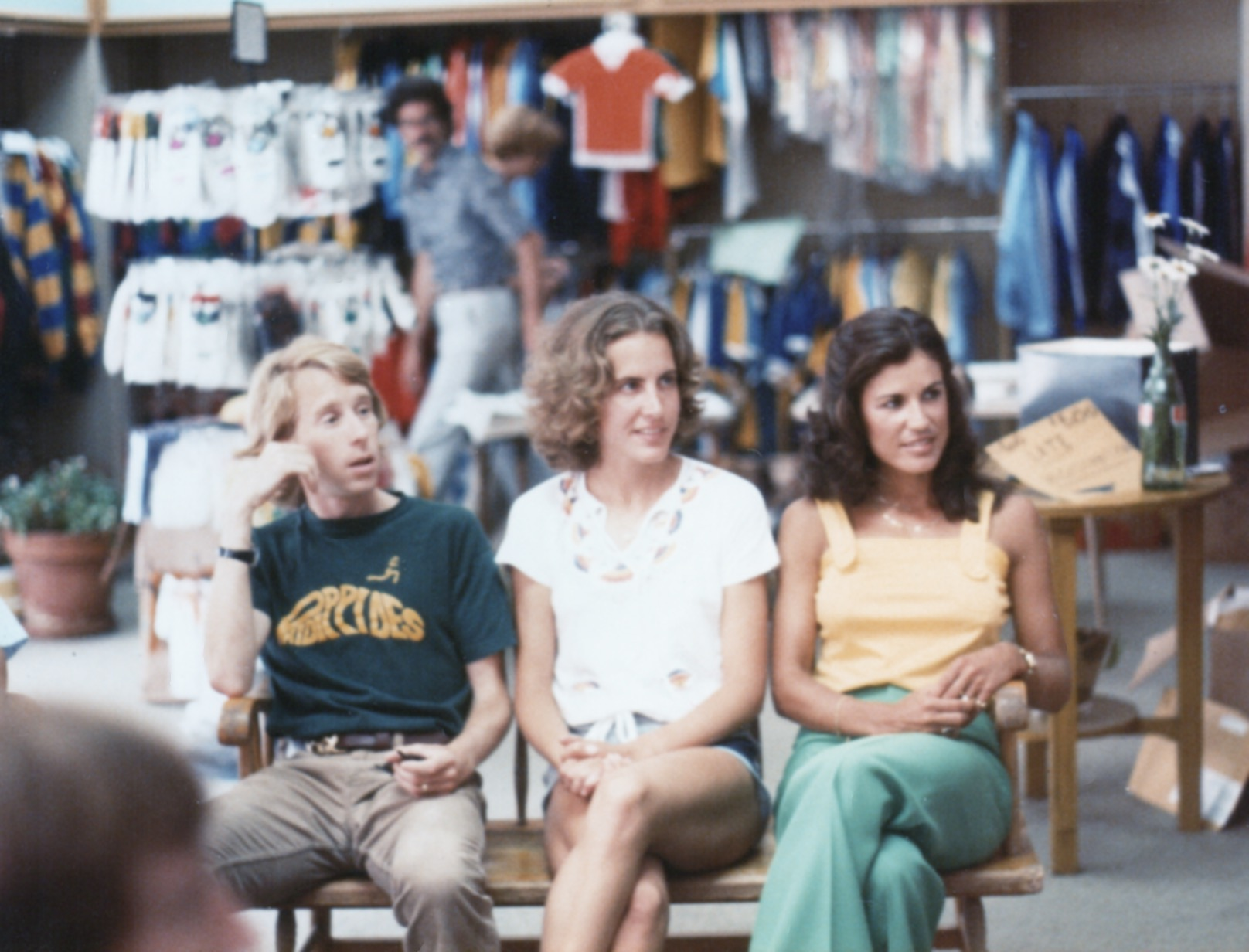 Race headquarters was Galloway's Phidippides Running Store. In this photo, the legendary Bill Rodgers sits in the store with eventual race winner and U.S. 10K record holder (at the time) Peg Neppel and five-time Peachtree winner Gayle Barron.