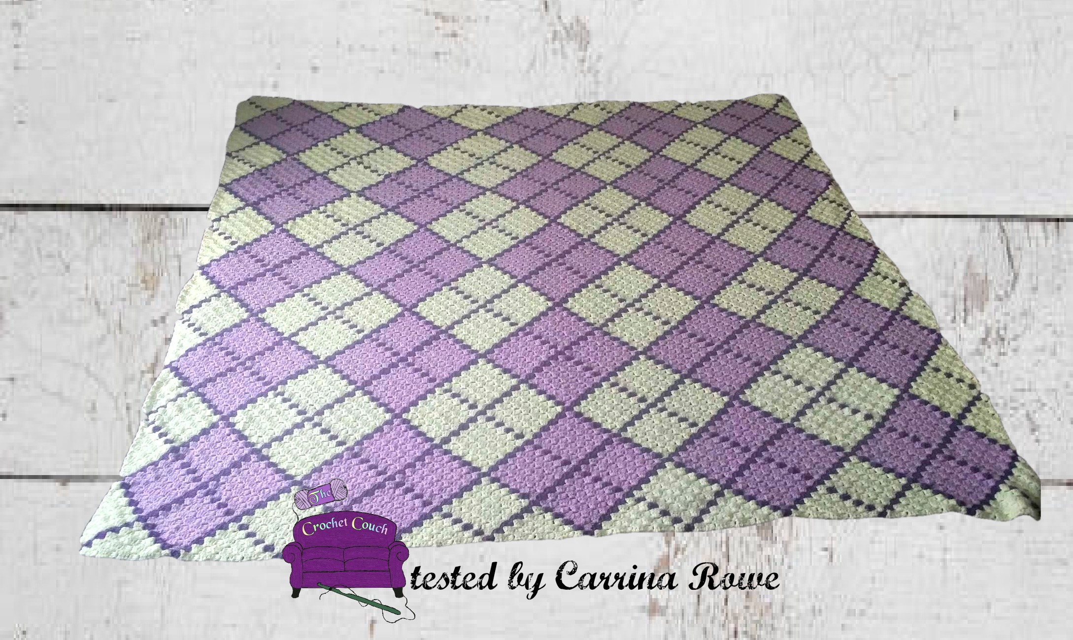 Crochet Pattern-ARGYLE PRINT SQUARES Baby Afghan Graph