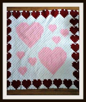 Heart Border Afghan, C2C Crochet Pattern