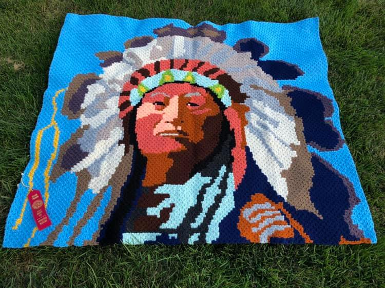 Mini C2C wins Red Ribbon - Tamara Pendergrass won a red ribbon at the 2019 Sarpy County Fair for this stunning afghan done in mini corner to corner.