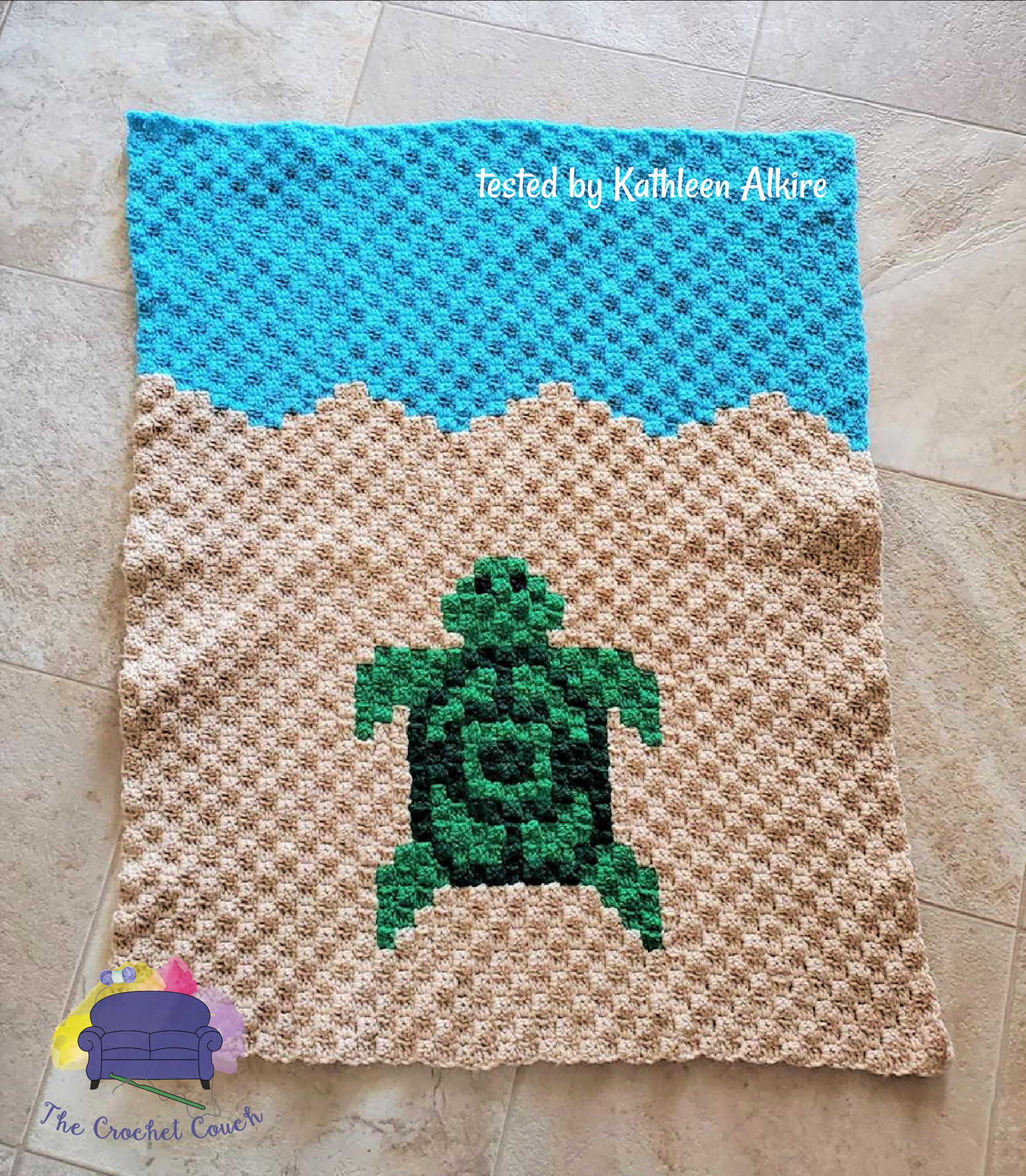 Turtle Baby Blanket C2c Crochet Pattern