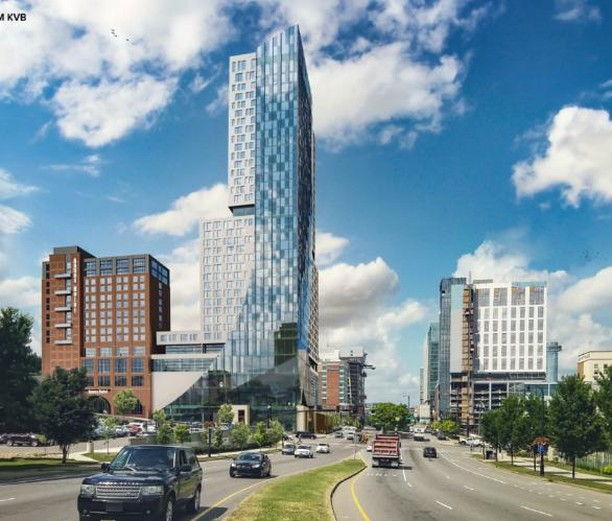 A new rendering has been released depicting 2 proposed hotel developments at 133 Korean Veterans Blvd. in downtown Nashville. The tallest building would rise 36 stories and contain 493 rooms. The brick hotel to the left would would be 14 stories with 200 rooms. Denver- based hotel developer Bod Swerdling is pursing this project. #CRE #hotelboom