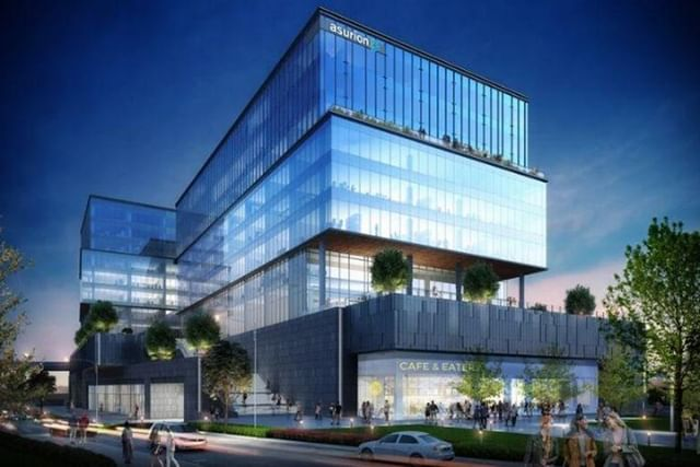 Asurion has broken ground on it's new headquarters in downtown Nashville at 120 11th Ave. North. The building will be around 540,000 SF with 2 acres of outdoor terrace, a coffee shop, and video production studio. #Nashville #CRE
