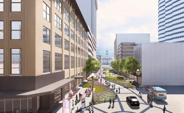 A new plan has offers to reinvent Anne Dallas Dudley Blvd. in downtown Nashville. Local developer Tony Giarratana has proposed a two-lane street for slow-moving vehicles, 1 acre of green space for pedestrians and the goal would be to activate each of the street's 4 corners at Church and Union. Rendering By: Barge Design Solutions #CRE #Nashville