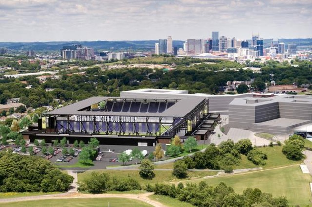 Updated renderings have been released for the new soccer stadium to be built in Nashville. The facility has been expanded to seat 30,000 people instead of 27,500 with an opening date of early 2022. #CRE #Nashville