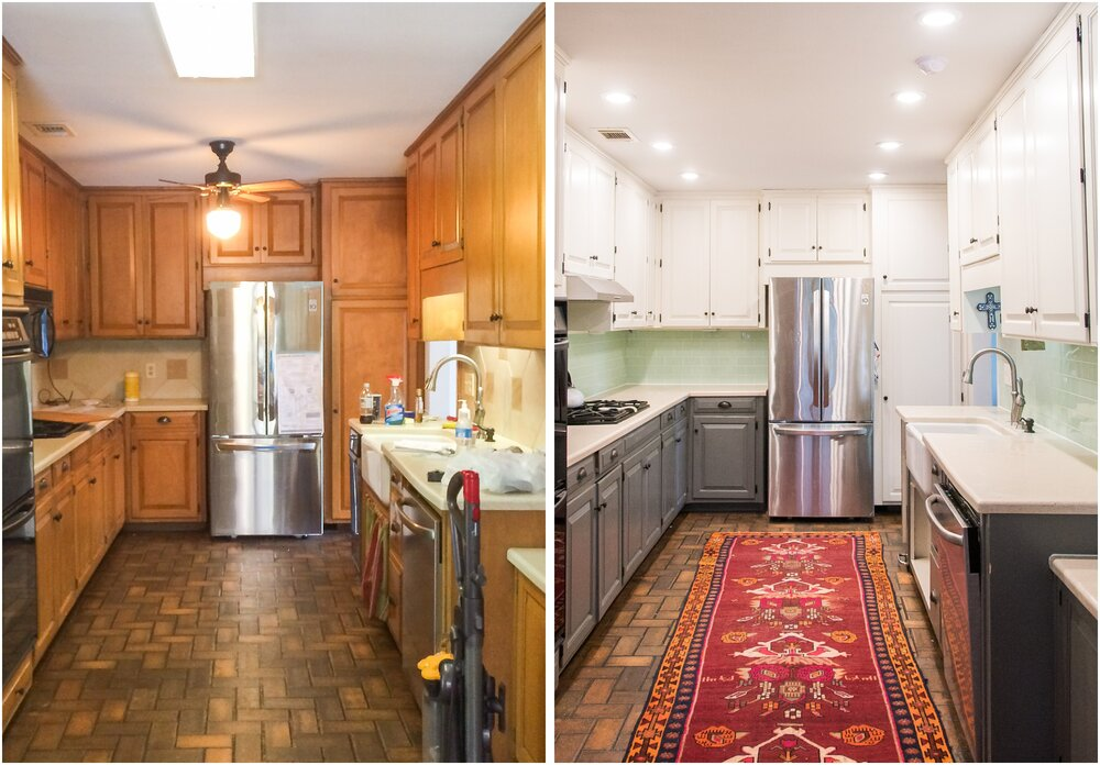 Diy Kitchen Makeover Painting Two Toned Cabinets A New Backsplash And Recessed Lighting Momstrosity